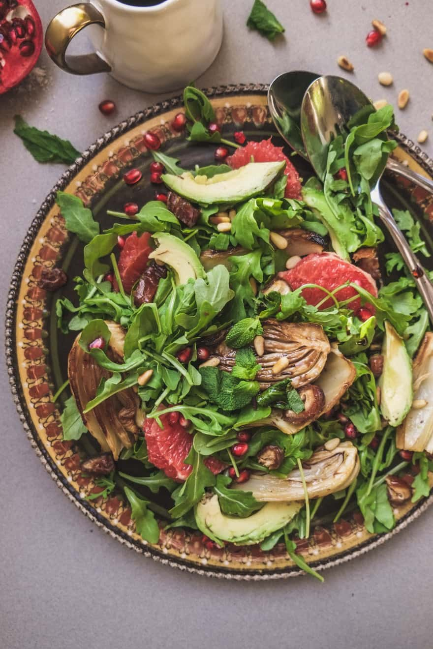 grapefruit winter salad with roasted fennel and avocado.