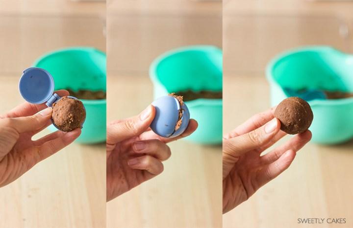 Façonnage des pokeball cake pops