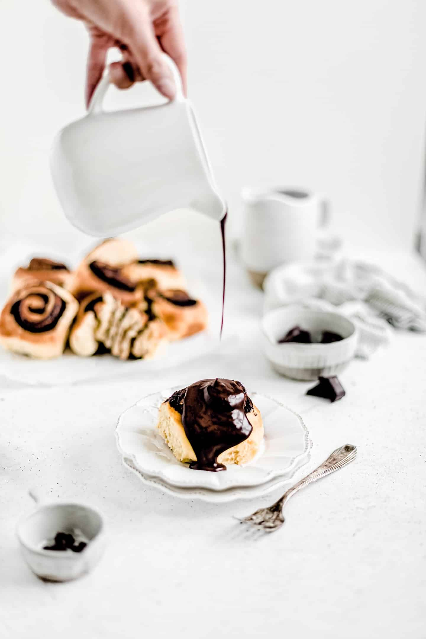 chocolate rolls with chocolate sauce