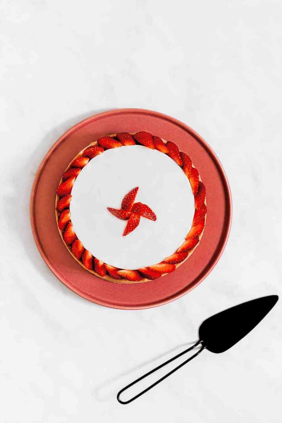 Tarte cheesecake sans cuisson aux fraises