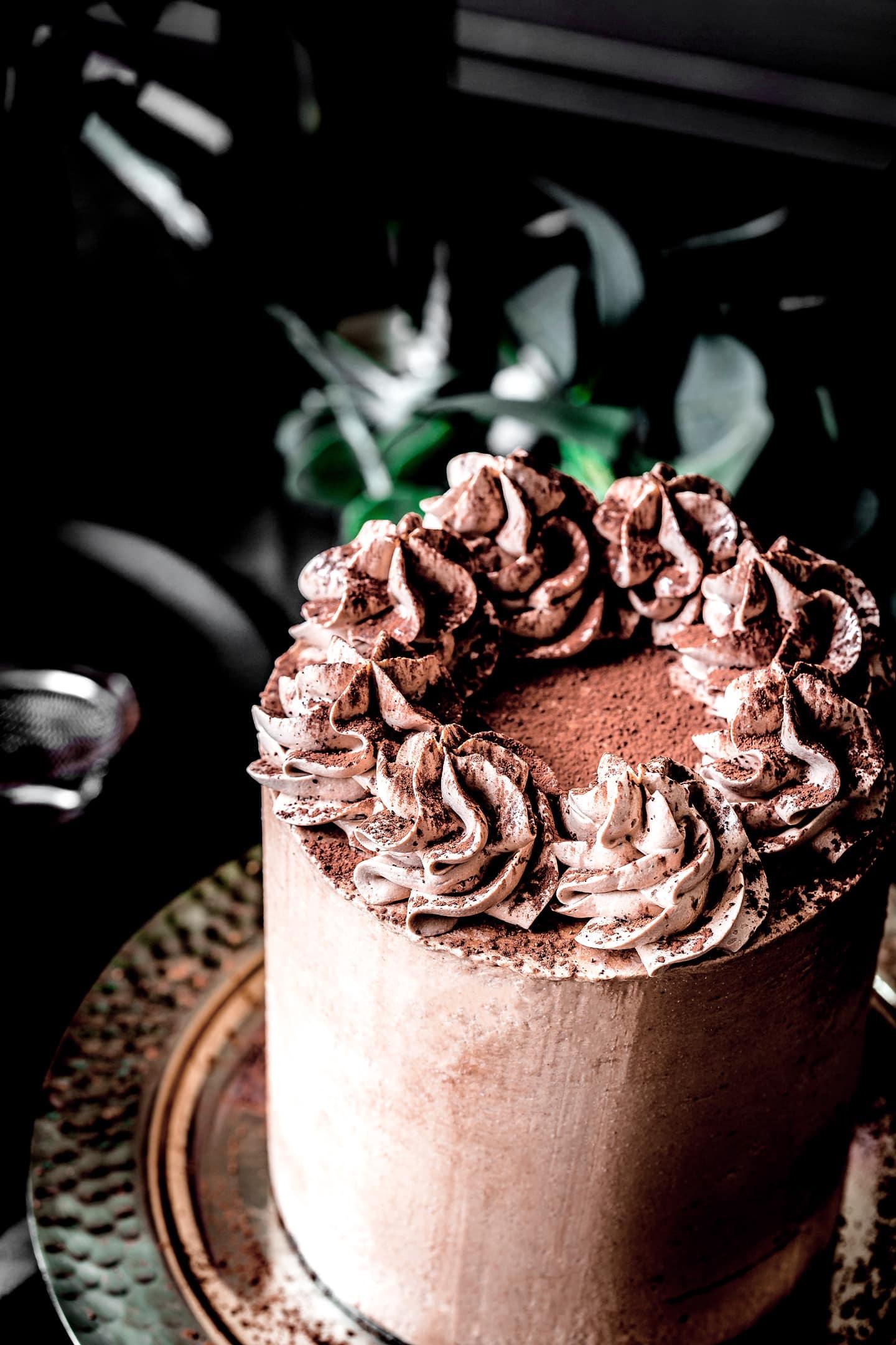 Layer cake chocolat et crème chocolat