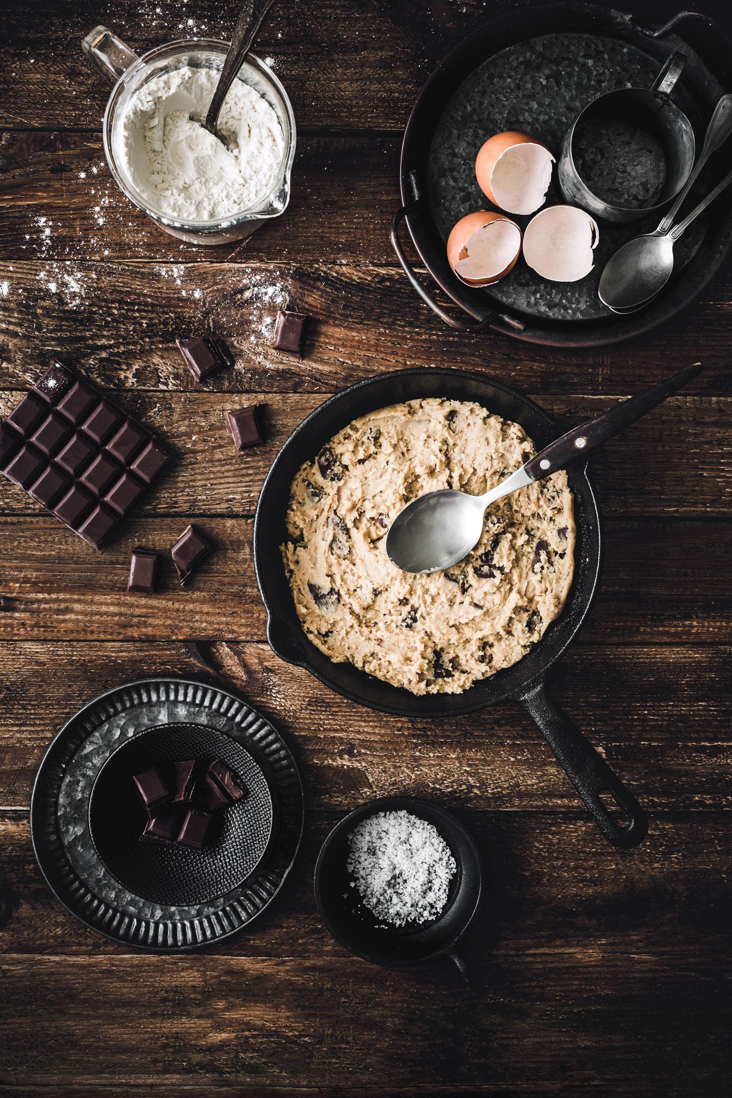 Cookie recipe on skillet