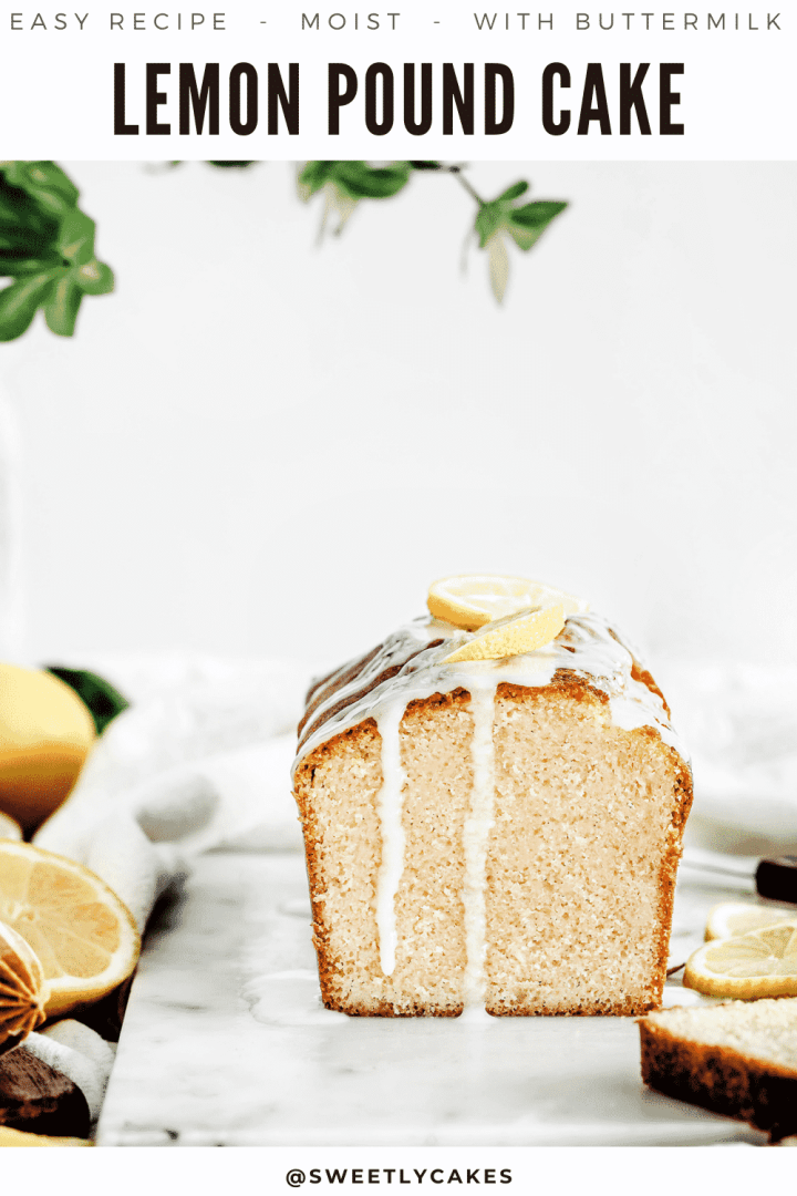 Easy lemon pound cake recipe, moist, slightly acide taste with a rich buttery texture