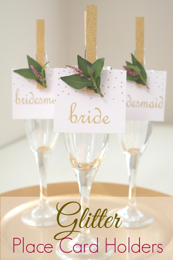DIY Glittered Clothes Pin Place Card Holders Sweetly