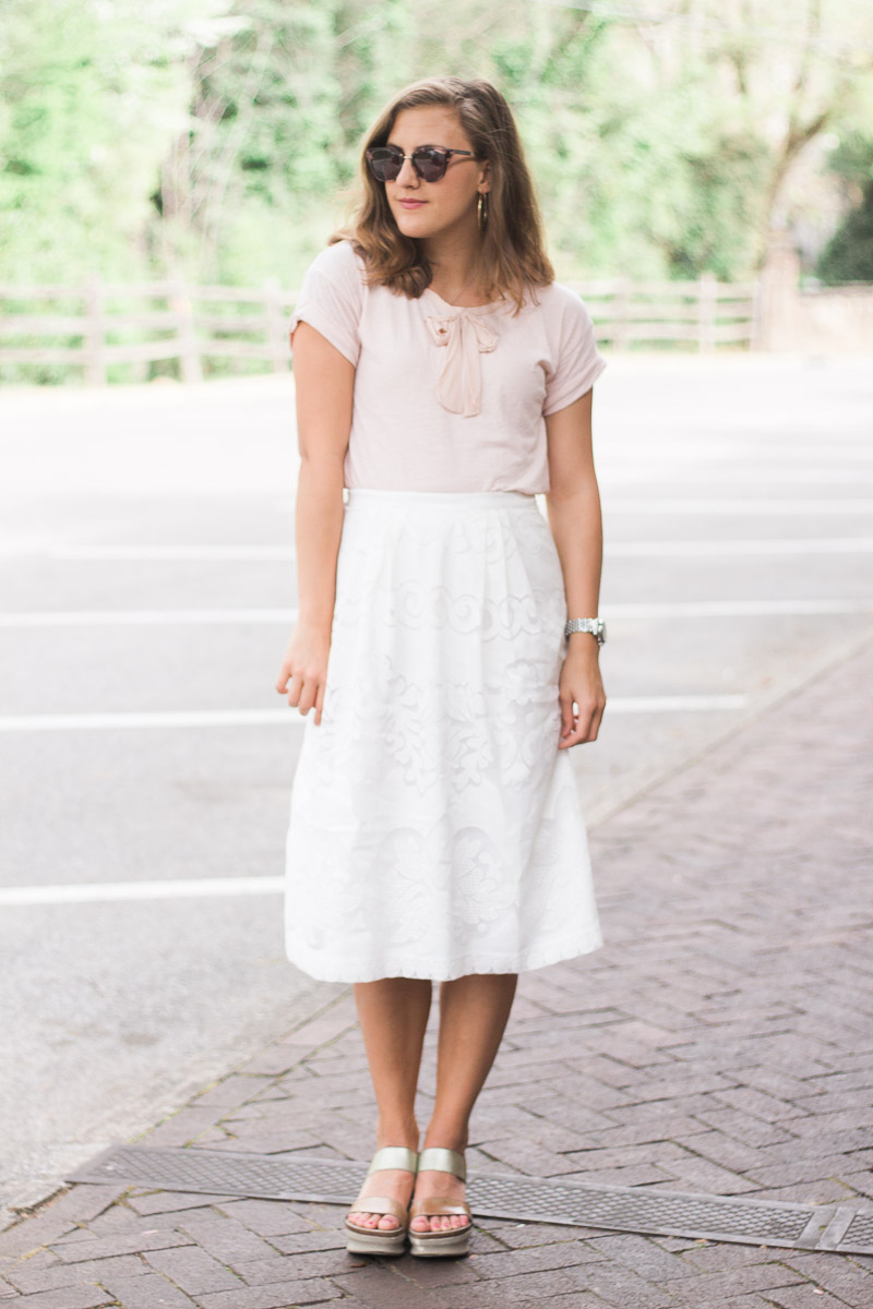 Why It's Important to Have Community featuring a white lace midi skirt and a jcrew pink bow top and OTBT wedges on sweetly sally