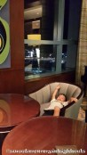 The kid lounging at Cafe