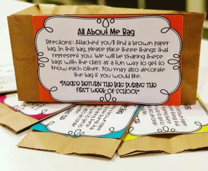 all about me bag - getting to know you activity