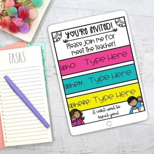 editable meet the teacher invitation