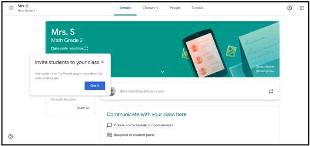 inviting students to Google Classroom