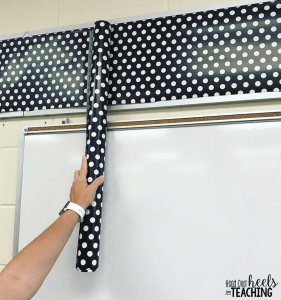 wrapping paper to cover bulletin boards