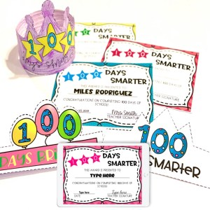 100th Day of School Editable Awards and Crowns