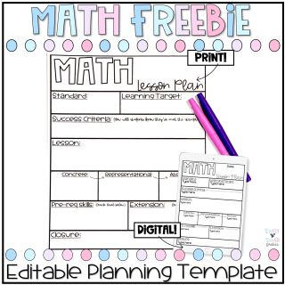 editable math lesson plan template freebie