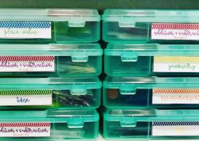 IRIS Scrapbook Labels for Math Centers Organization