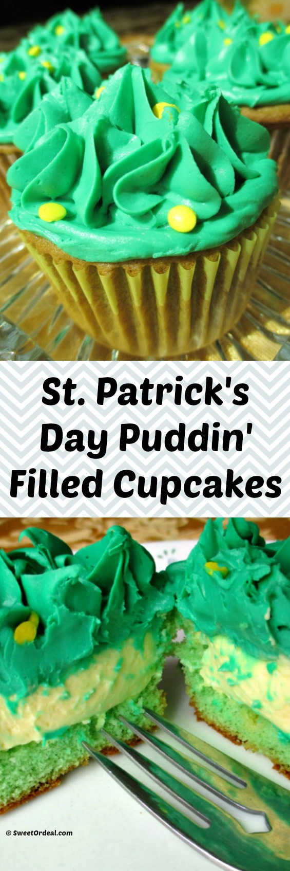 St. Patrick's Day Puddin' Filled Cupcakes