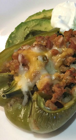 Turkey Spinach Stuffed Bell Peppers