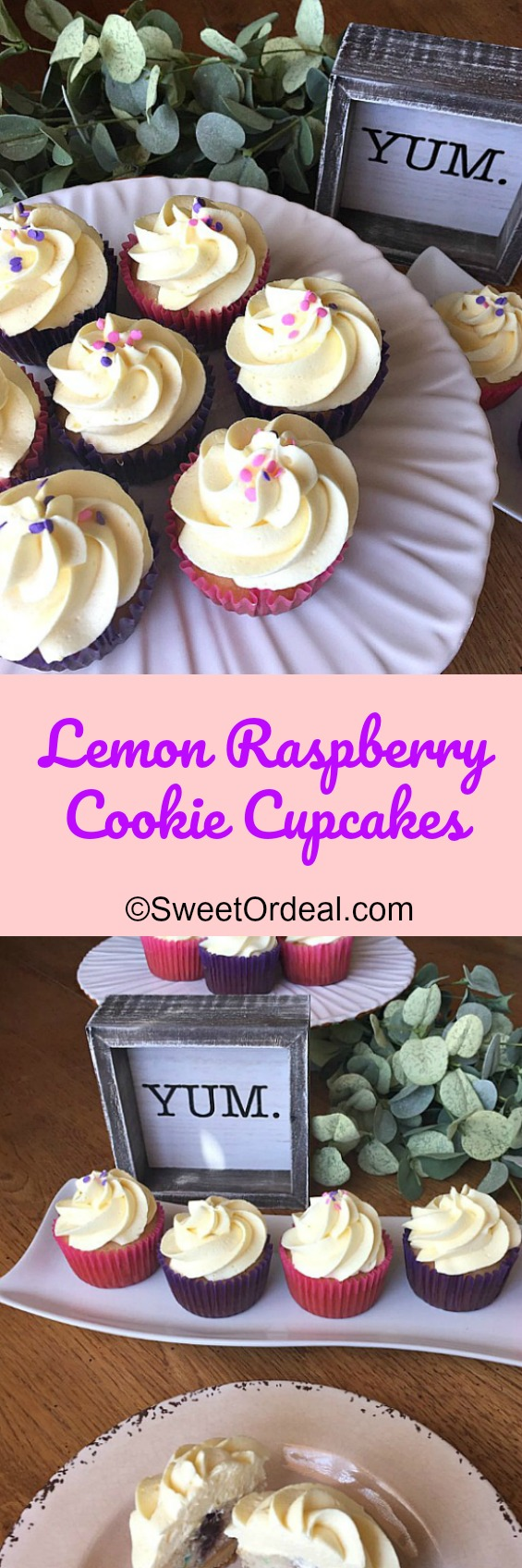Lemon Raspberry Cookie Cupcakes