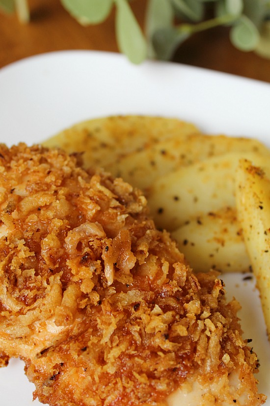 Golden outside of BBQ Onion Chicken Bake