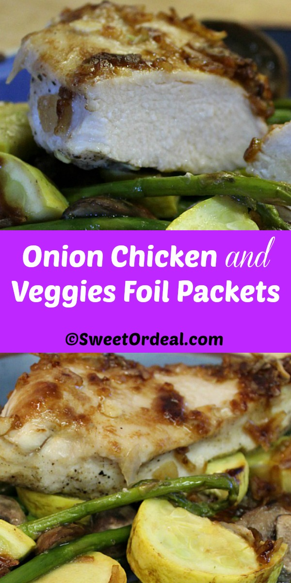 Moist chicken covered with onion soup mix over fresh veggies.