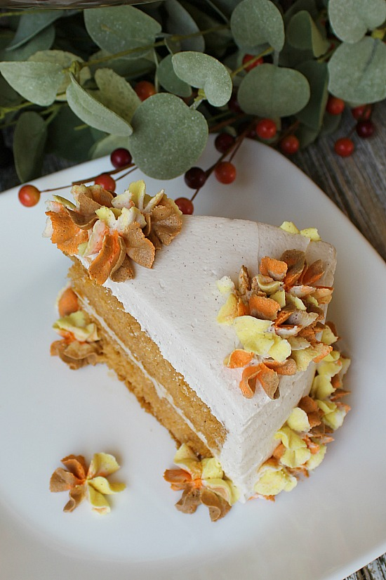 Pumpkin Pudding Cake with Cinnamon Buttercream Frosting