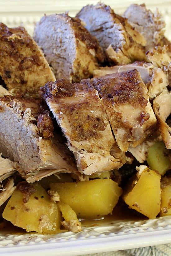 Close up of sliced pork roast.