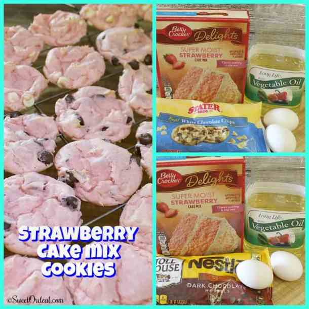 Baked cookies and ingredients.