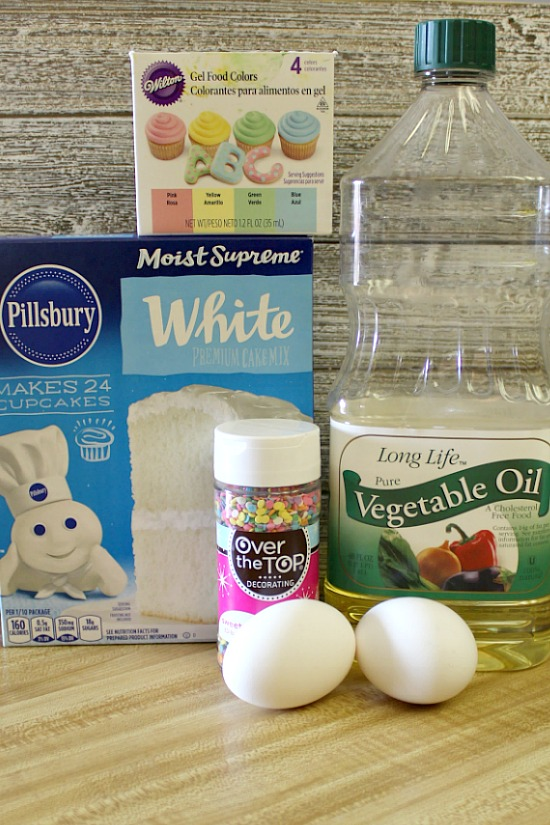 Ingredients for cake mix cookies.