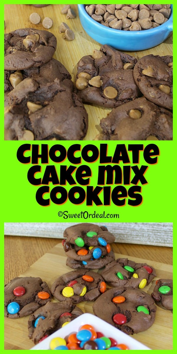 Soft chocolate cake mix cookies using PB and M&M baking chips.
