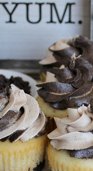 Deliciously frosted cupcakes.