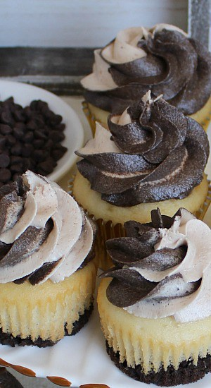 Mocha Frosting on chocolate vanilla cupcakes.