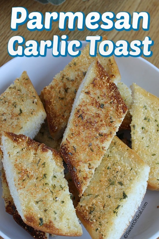 Pieces of garlic toast in a bowl.
