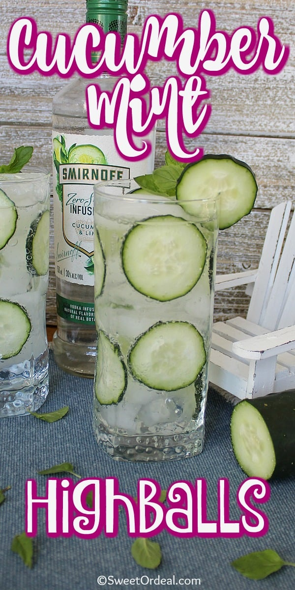 Highball glass with cucumber slices and ice.