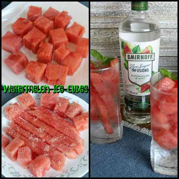 Cubed watermelon, also shown as ice cubes.