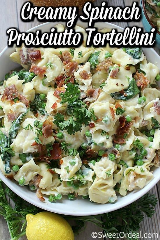 Bowl of pasta and prosciutto.