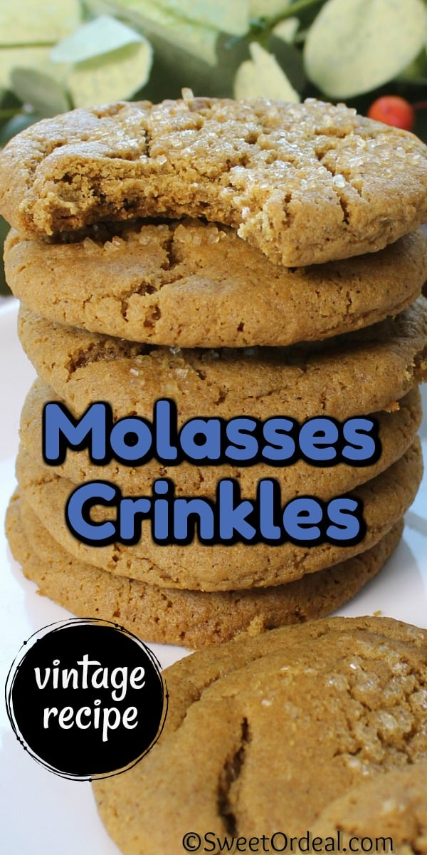 Stack of molasses cookies.