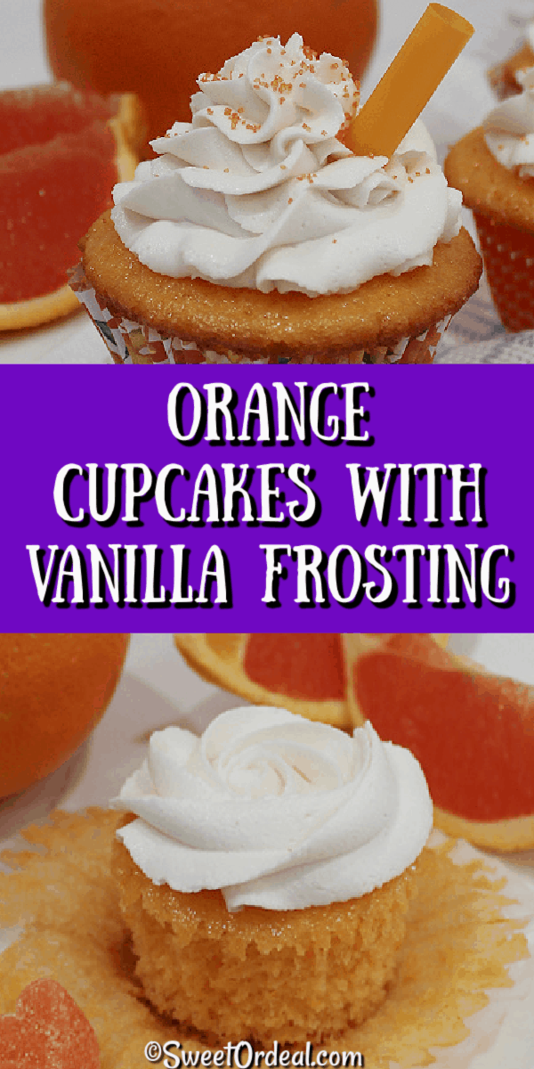 Orange Cupcakes with Vanilla Frosting