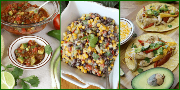 Almost Homemade Salsa, Black Bean and Corn Salad, and Chicken Fajita Foil Packets.