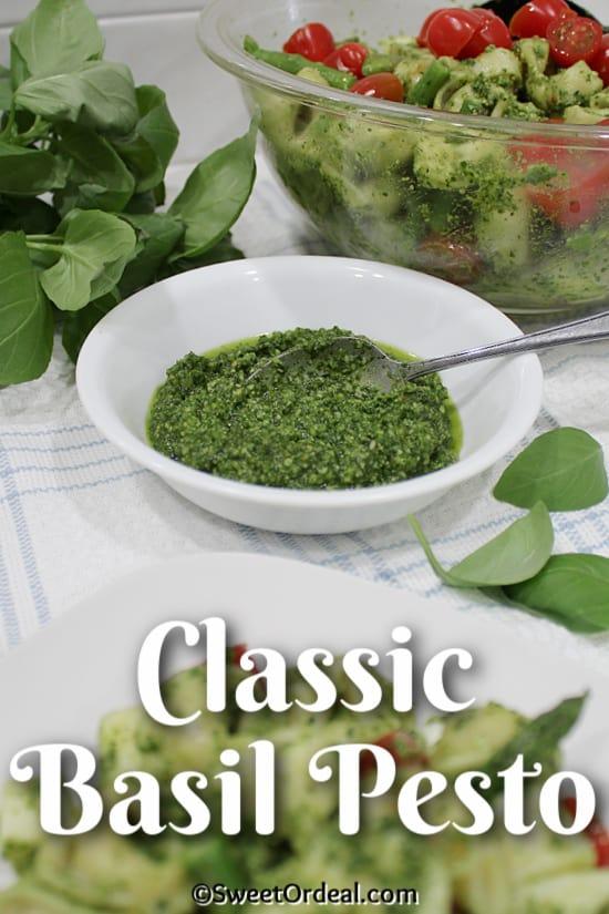 White bowl with pesto sauce.