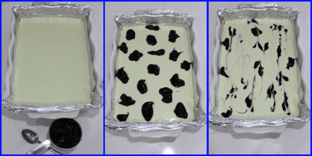 Three pictures showing pre-baked cheesecake and method of marbling.