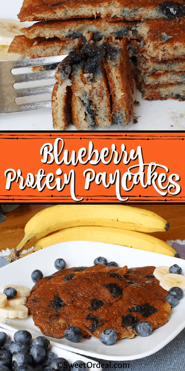 A forkful of delicious fresh blueberries and banana in pancake form.