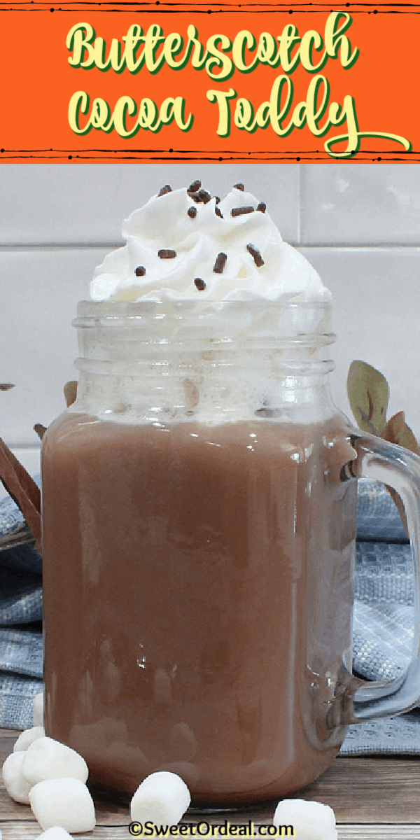 A hot chocolate drink infused with butterscotch schnapps to warm your soul.