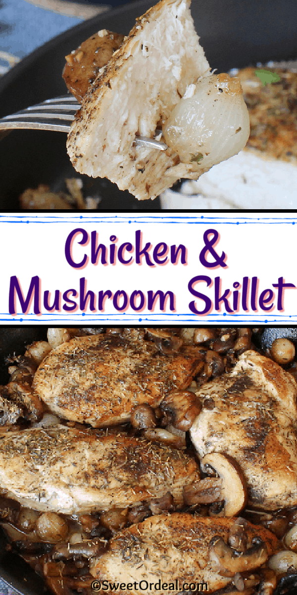 A bite of chicken, pearl onion, and slice of mushroom made in one pan.