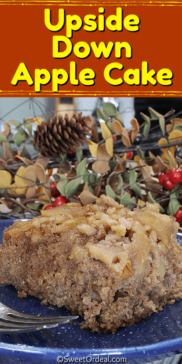 A spice cake baked over fresh apples, butter, and brown sugar, then flipped over.