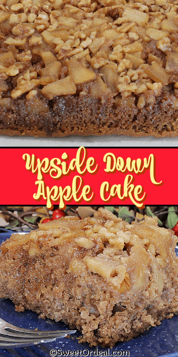 Baked apples with walnuts topping a spice cake.