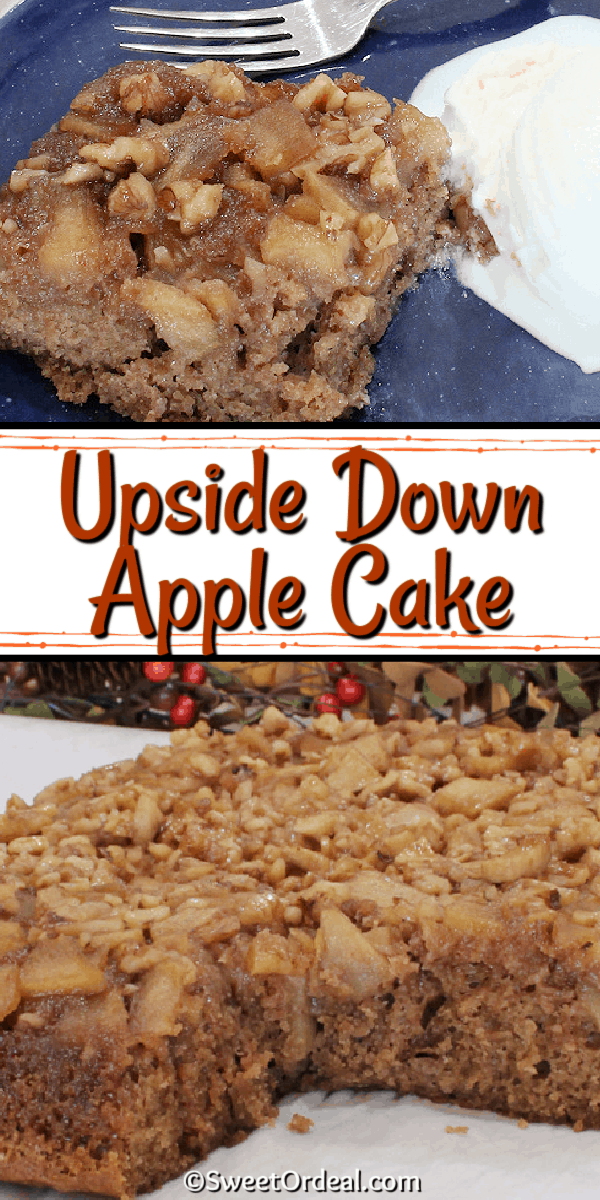 A slice of freshly baked cake that's been flipped over to reveal walnuts and tender baked apples.