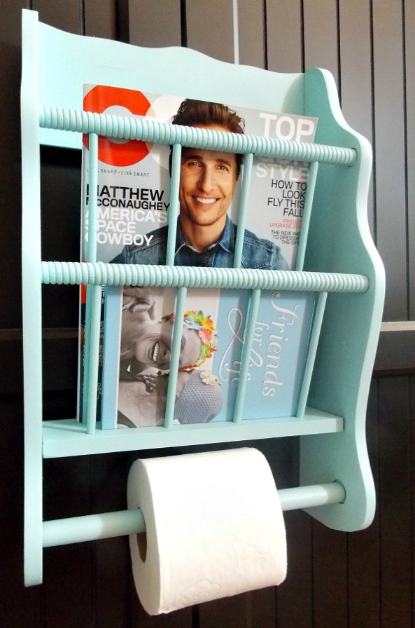 painted thrift store magazine rack