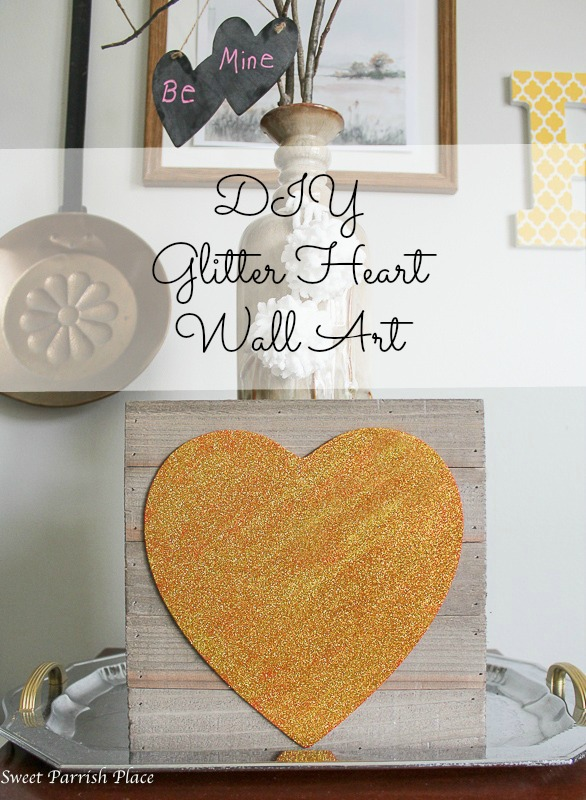 DIY glitter heart wall art