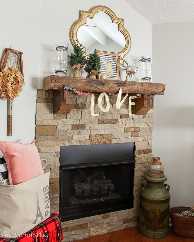 Rustic Glam Valentines Day Mantle