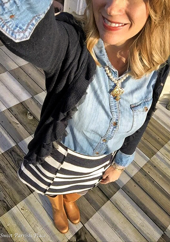 striped skirt and chambray