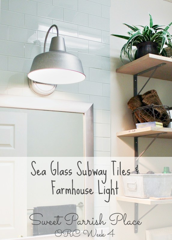 Subway tile backsplash and farmhouse light