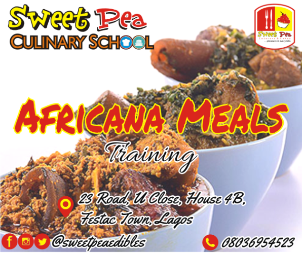 Perfect your cooking skills and learn to make a wide variety of soups and dishes in 3 weeks • Detailed training manual • 30 different Nigerian meals and accompaniment (including Yoruba, Ibo & Calabar soups) • Practical cooking classes • Class project • Certification • Free-after training consultation